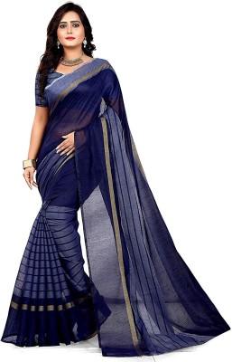 WAMA FASHION Striped Fashion Cotton Blend Saree(Blue)