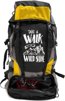 Trunkit High Quality Water Resistance Trekking Hiking Travel Bag With Shoe Compartment Rucksack - 55 L(Black, Yellow)