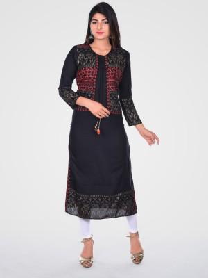 Khushrang Women Printed Straight Kurta(Black)