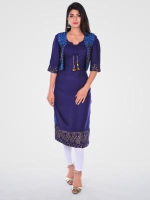 Khushrang Women Printed Straight Kurta(Dark Blue)