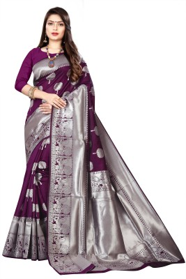 KOMALPANKH Woven Banarasi Art Silk Saree(Purple)