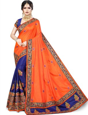Krishna R fashion Embroidered Bollywood Poly Silk Saree(Orange, Blue)