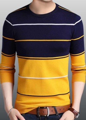 Try This Color Block, Striped Men Round Neck Blue, Yellow T-Shirt