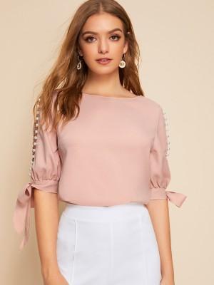 Aahwan Formal Slit Sleeve Solid Women Pink Top