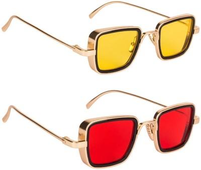 Phenomenal Retro Square Sunglasses(Yellow, Red)