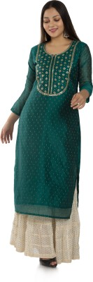 Dirza Fashion Women Self Design Straight Kurta(Green)