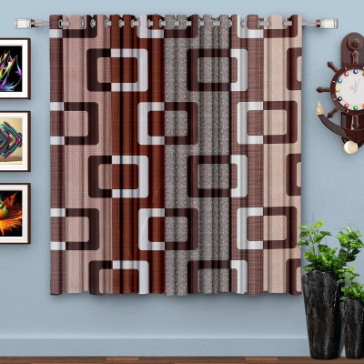 HOMETIQUE 152.4 cm (5 ft) Polyester Window Curtain Single Curtain(Geometric, Brown)