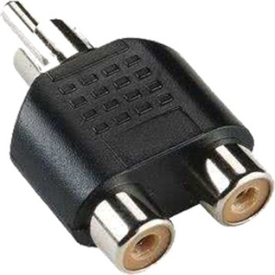SYMFONIA TV-out Cable RCA Y Splitter AV Audio Video Plug Converter 1-Male to 2-Female Cable Adapter(Black) pack of 1(Black, For TV, 0 m)