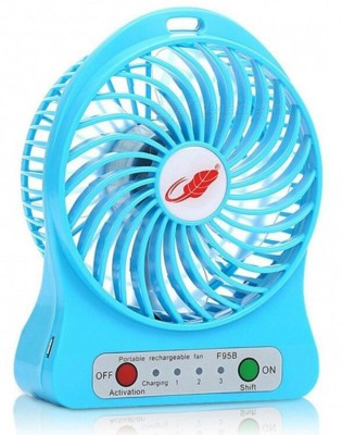 zauky Portable Mini Fan Rechargeable Battery with LED Light khghg545 USB Fan Blue
