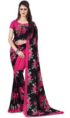 Anand Floral Print Daily Wear Georgette Saree(Pink)