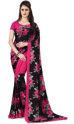 kashvi sarees Printed, Floral Print Daily Wear Georgette Saree(Black)