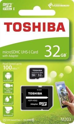Toshiba M203 32GB Class 10 MicroSDXC 100MB Memory Card with Adapter 32 GB MicroSD Card Class 10 100 MB/s Memory...