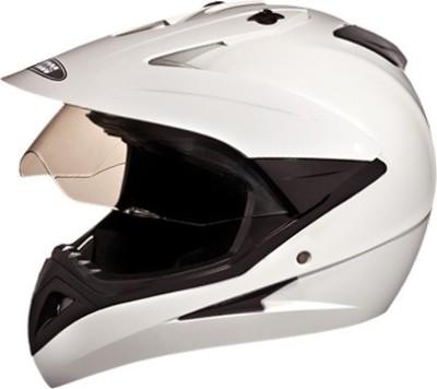 STUDDS MOTOCROSS WITH VISOR Motorsports Helmet(White)
