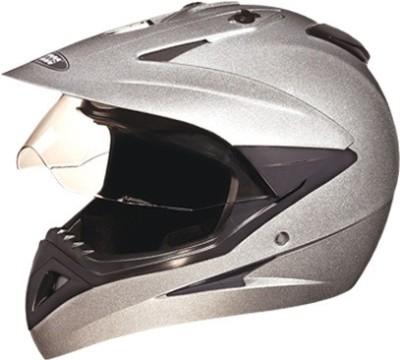 STUDDS MOTOCROSS WITH VISOR Motorsports Helmet(GREY/SILVER)