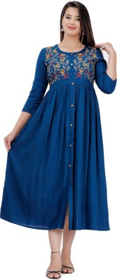 DMP FASHION Women Embroidered Flared Kurta(Light Blue)