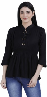 FineCreations Casual Flared Sleeve Solid Women Black Top