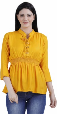 FineCreations Casual Flared Sleeve Solid Women Yellow Top