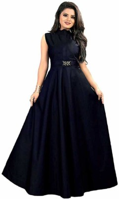 THE CLOTHING DOOR Satin Self Design Gown/Anarkali Kurta & Bottom Material(Semi Stitched)