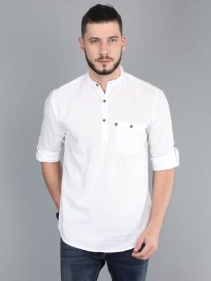 Asian & Fitch Men Solid Straight Kurta(White)