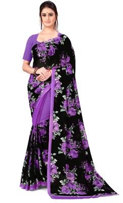 kashvi sarees Printed Daily Wear Georgette Saree(Purple, Black)