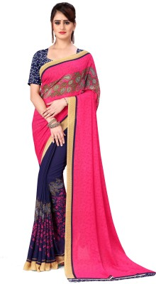 Anand Printed Daily Wear Georgette Saree(Pink, Blue)