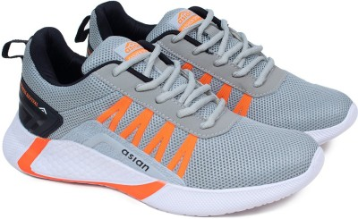 ASIAN Bouncer-01 Running shoes for boys | sports shoes for men | Latest Stylish Casual sneakers for men | Lace up lightweight grey shoes for running, walking, gym, trekking, hiking & party Running Shoes For Men(Grey, Orange)