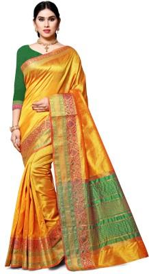 COSBILA FASHION Woven Chanderi Jacquard, Cotton Silk Saree(Yellow, Gold)