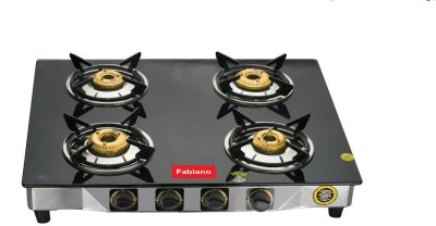 Fabiano Presents FAB-4 Burner 7MM Toughened Glass Top Gas Stove : ISI Approved : Door Step Service Available Pan India...