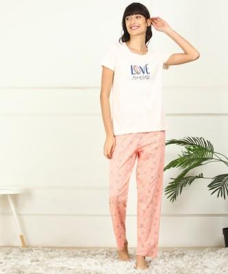 DreamBe Women Printed Multicolor Top & Pyjama Set