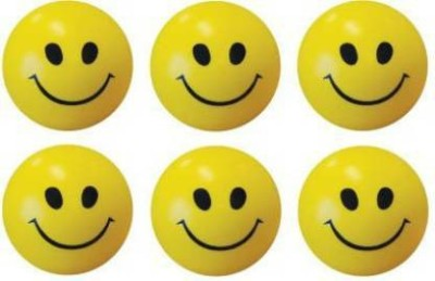 VTR3 Smiley Face Squeeze Stress Ball   Set of 6   3 inch  Yellow, Black    10 cm Yellow