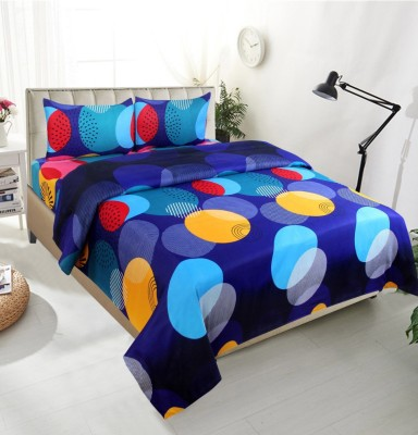 Tanish 152 TC Polycotton Double Printed Bedsheet(Pack of 1, Blue)