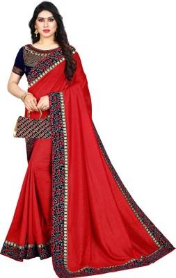 Krishna R Fashion Woven Bollywood Vichitra Saree(Red)