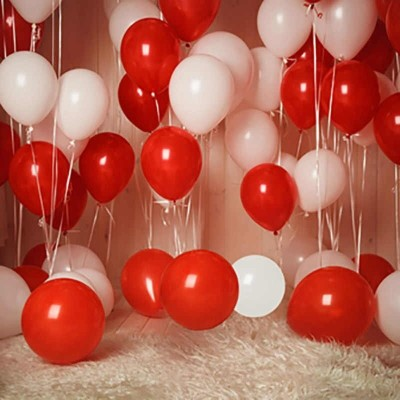 nature creation Solid PO100 Balloons (50 Red, 50 White) for Birthday, Anniversary , Festival, Wedding, Engagements Celebration and Party Balloon(Red, White, Pack of 100)