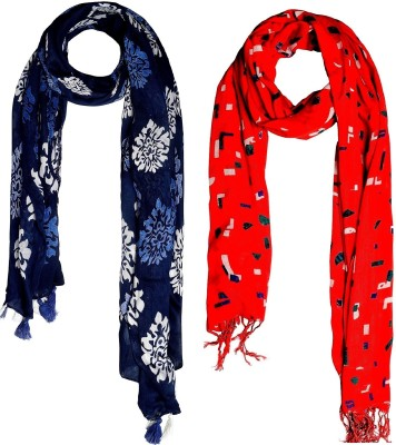 Glam Story Printed Rayon Women Fancy Scarf, Stole, Scarf