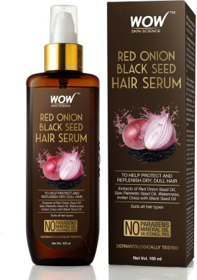 WOW SKIN SCIENCE Red Onion Black Seed Hair Serum - with Red Onion Seed Oil Extract, Watercress - NON STICKY - for Frizz Control & Replenishing Dry, Dull Hair - No Parabens, Silicones & PEG - 100mL(100 ml)