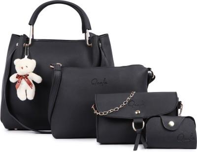 Qaafa Women Black Hand-held Bag(Pack of: 4)
