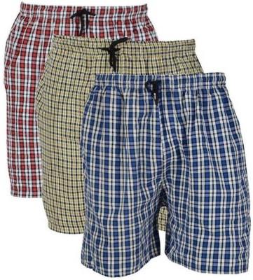 Xales Checkered Men Multicolor Night Shorts
