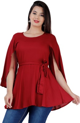 Fab Star Party Cap Sleeve Solid Women Maroon Top