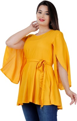 Fab Star Party Cap Sleeve Solid Women Yellow Top