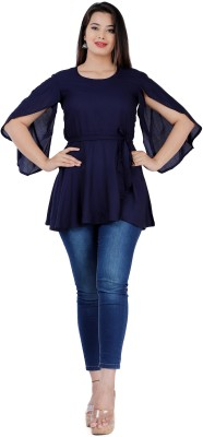 Fab Star Party Cap Sleeve Solid Women Blue Top