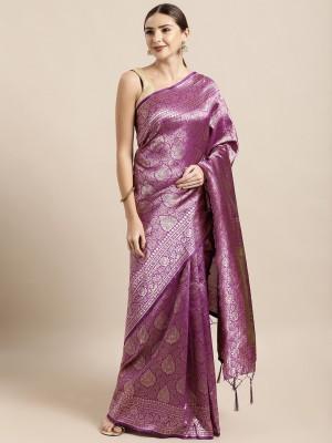 SAINOOR Woven Banarasi Silk Blend Saree(Purple)