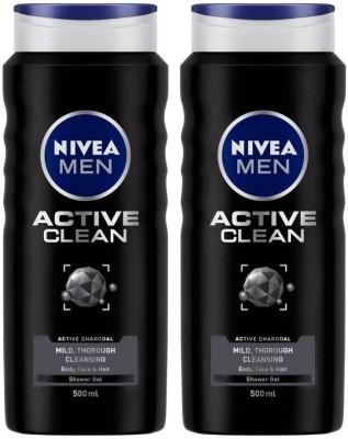 NIVEA Men Shower Gel, Active Clean, Pack of 2 - 500 ml each  (2 x 500 ml)