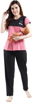 AV2 Women Solid Pink, Black Top & Pyjama Set