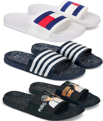 Monoction Combo Pack of 3 New White fashion Reguler stylish Flip Flop Slides Slipper for Men(Slides Flip flops) Slides