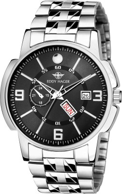 EDDY HAGER EH-226-BK Black Day and Date Analog Watch - For Men