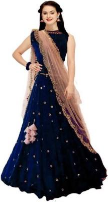 H B Fashion Embellished Semi Stitched Lehenga Choli(Blue)