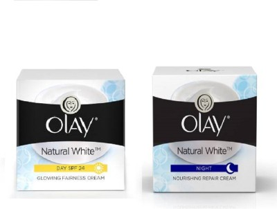 Olay natural white fairness cream spf24 50g + natural night cream 50g(100 ml)