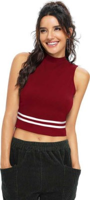 Kreadaa Party Sleeveless Solid Women Maroon Top