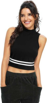 Kreadaa Party Sleeveless Solid Women Black Top