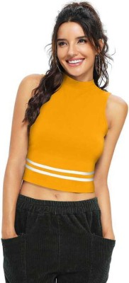 Kreadaa Party Sleeveless Solid Women Yellow Top
